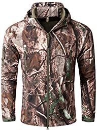 Camo Coll Men\'s Outerwear Camouflage Hoodie Military Jacket (Trees, L)