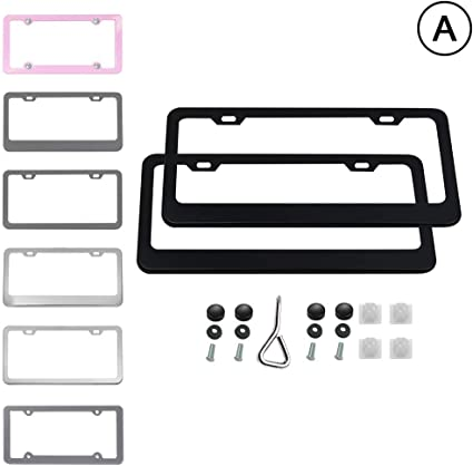 Airisoer License Plate Frame Black Matte Aluminum with Bolts Washer Caps Car Licenses Plate Covers Holders for US Vehicles 2 Pcs 2 Holes