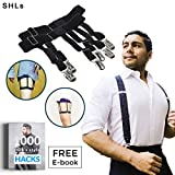 Cheap SHLs Shirt Stays | Shirt Suspenders & Holders for Men with Elastic Metal Clips