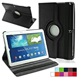TGK 360 Degree Rotating Luxury Leather Stand Smart Case Cover For Samsung Galaxy Note SM- P600, P601, P605 (10.1 inch) - Black
