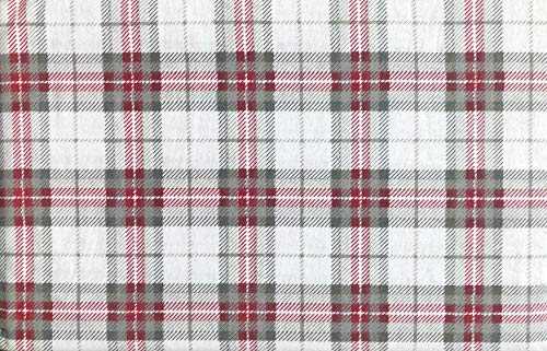 Nordic North Bedding 4 Piece Cotton Turkish Flannel Full Size Bed Sheet Set Winter Plaid Stripes Tartan Stripes Pattern in Shades of Gray Red White (Sheets Tartan Flannel)