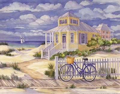 Beach Cruiser Cottage II by Paul Brent - 14x11 Inches - Art Print Poster