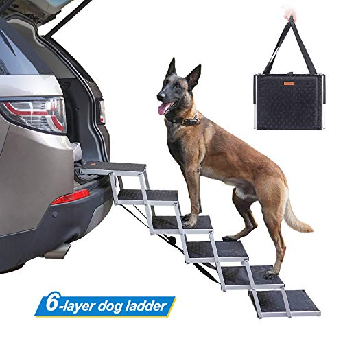 Niubya Dog Steps for Large Dog, Lightweight Aluminum Foldable Pet Ladder Ramp with Nonslip Surface for High Beds, Trucks, Cars and SUV, 6 Step Dog Stairs Supports 150-200 lbs