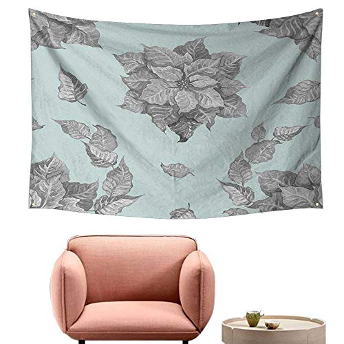 - alsohome Tapestry for Bedroom Cool Wall Tapestry Grey Poinsettia Flower On A Blue Backgroun for A Backgroun Or Wallpaper 72