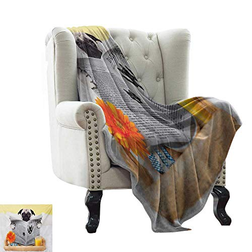 BelleAckerman Flannel Blanket Pug,Pug Reading Daily Dog Breakfast in Bed Sunday Family Fun Comedic Image,Pale Brown Yellow Orange for Bed & Couch Sofa Easy Care 60