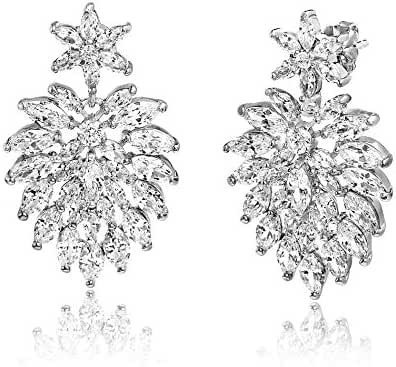 18K White Gold Over Sterling Silver Cubic Zirconia Leaf Design Post Earring