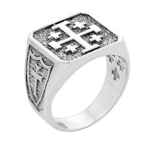 Solid 14k White Gold Crusaders Band Jerusalem Cross Ring for Men (Size 14) - Jerusalem Cross Ring Size 14