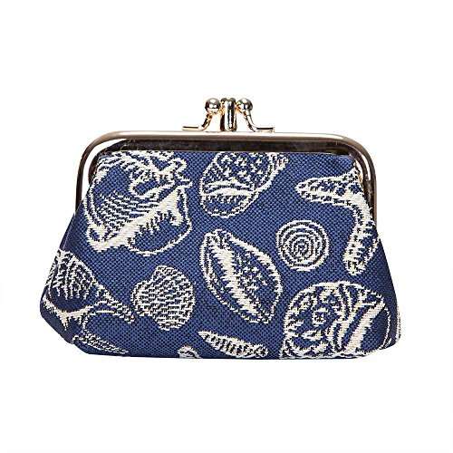 Navy Blue Sea Shell Frame Purse by Signare/Womens Branded Unique Coin Card-Holder Clasp Beach FRMP-SHELL/FRMP-SHELL ()