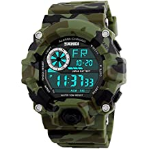 Fanmis Men's Digital 50M Waterproof Electronic Sport Watch Rubber Band Army Military 24H Time LED Light 164FT Water Resistant Calendar Date Day Watches Camouflage Green