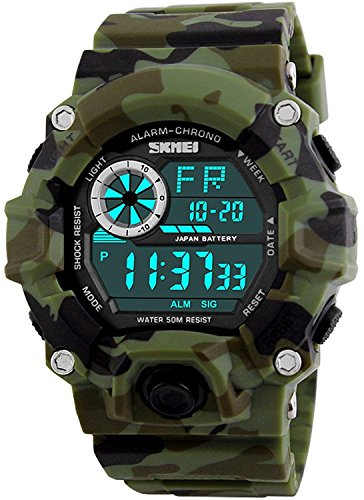 Fanmis Men's Digital 50M Waterproof Electronic Sport Watch Rubber Band Army Military 24H Time LED Light 164FT Water Resistant Calendar Date Day Watches Camouflage (Mens Calendar Day Date Watch)