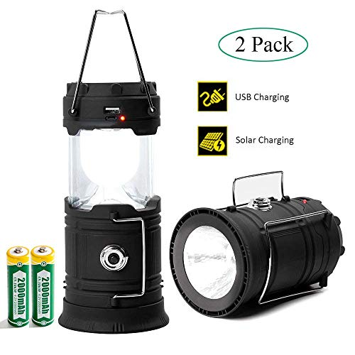 Camping Lantern LED, Camping Lights and Lanterns 2 Pack, Solar Lantern Rechargeable Battery Operated for Camp, Camping Lamp IPX4 Water Resistant, Emergency Light for Hurricane