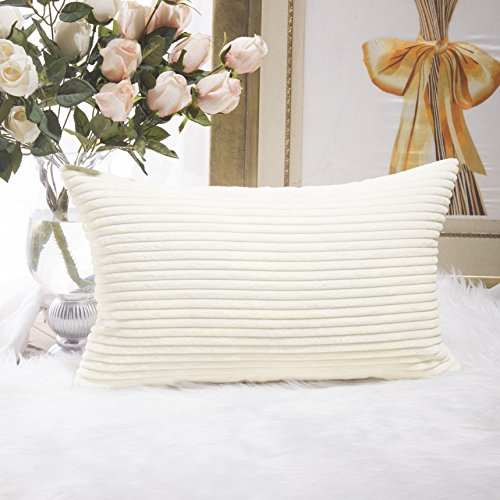 12x12 Corduroy - HOME BRILLIANT Decor Decorative Striped Corduroy Solid Cushion Cover Throw Oblong Pillowcase for Kids/Toddler, 12 x 20, Creamy White