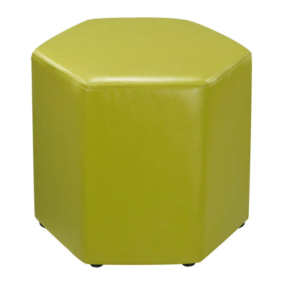 C LJJL Stool, Sofa Stool, shoes Bench, Leather Stool, Hexagonal Footstool for Bedroom 4 colors 16.5  × 16.5  (color   C)