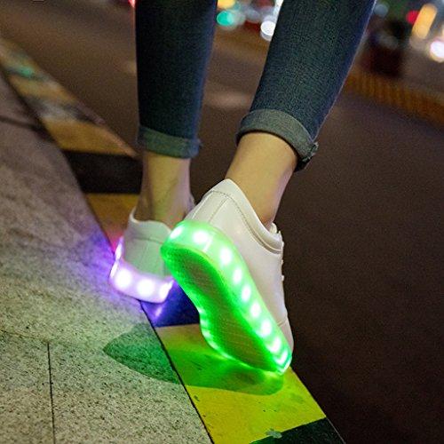 Lumière Usb Avec Magideal Chargeur Femmes Led Hommes De Sport Chaussures Blanc qtFtzT