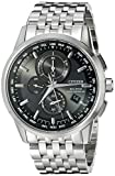 Citizen Men's AT8110-53E World Chronograph A-T Analog Display Japanese Quartz Silver Watch