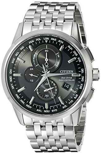 Eco Drive World Time Watch - Citizen Men's Eco-Drive World Chronograph Atomic Timekeeping Watch with Perpetual Calendar, AT8110-53E