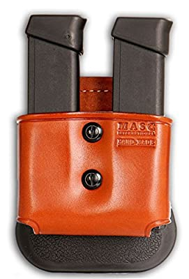 Leather Double Open Magazine Carrier Paddle For Glock Magazines & Similar New, Brown Color