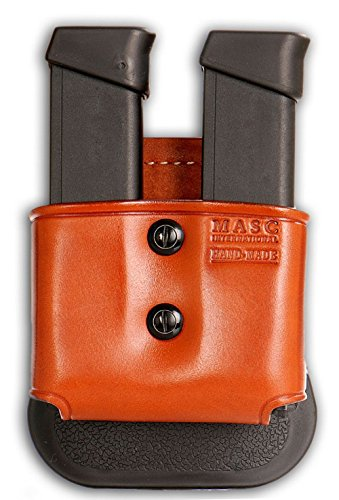 Leather Magazine Carrier - MASC HOLSTER Premium Leather Double Open Magazine Carrier Paddle fits, Glock Magazines & Similar New, Brown Color