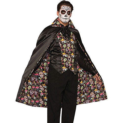 Day Of The Dead Costumes Halloween - Forum Men's Day Of The Dead Cape, Multi, One Size
