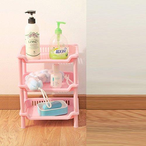 Solid Plastic Shelf (TEERFU Corner Shelf Organizer -Free Standing 3 Tier Corner Shower Shelf - Plastic Construction-Kitchen Shelf,Bathroom Organizer)