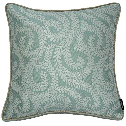 McAlister Plush Woven Little Leaf Pillow Cover Sham   Floral Damask Vine  20x20 Duck Egg Turquoise Blue Decorative Throw Cushion Sham   Chinoiseries Shabby Chic Accent, Modern Decor