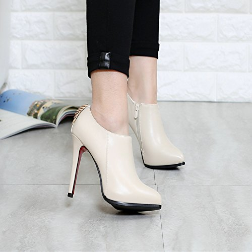 KHSKX-Metal Decorative Fine Documentary Shoes Pointed High-Heeled Shoes Women'S Shoes Professional Deep Leather Shoes 35 Beige 0uT8QejE