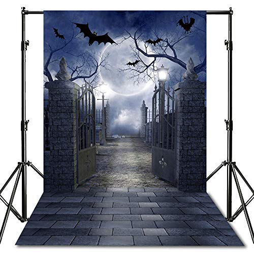 econious Halloween Backdrop, 5x7ft Halloween Black Bat Night Backdrop for Studio Props Photo Backdrop, Soft Fabric (Backdrop