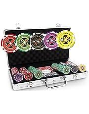 Pokeo Ultimate Pokerkoffer 300 chips – set met 300 pokerchips 13,5 g + aluminium koffer + 2 kaartspellen 100% kunststof + dealer-knop