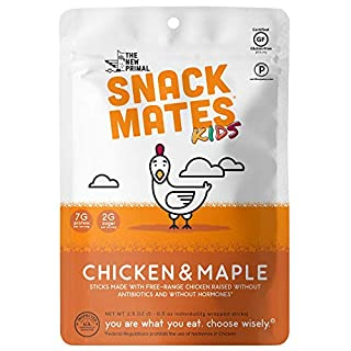 Snack Mates by The New Primal Free-Range Chicken MINI Sticks, High Protein and Low Sugar Kids Snack, Certified Paleo, Certified Gluten-Free, Lunchbox Friendly, 5 (0.5 oz) Sticks Per Pack (8 Pack)