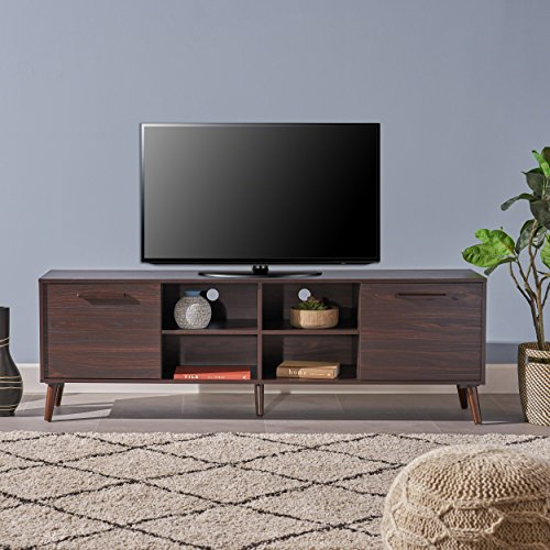 Great Deal Furniture 304407 Sade Mid Century Modern Faux Wood Overlay TV Stand, Dark Walnut,