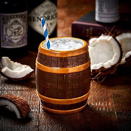 bar@drinkstuff Taza de cerámica con Barril de Ron, 22.3 oz / 635 ml - Creative Cocktail Cup, Pirate Tiki Mug, Barrel Mug