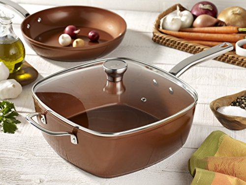T-fal C4119564 Copper Ceramic Nonstick Dishwasher Safe Oven Safe Cookware Saute Pan Square Pan, 7-Quart, Copper by T-fal (Image #6)