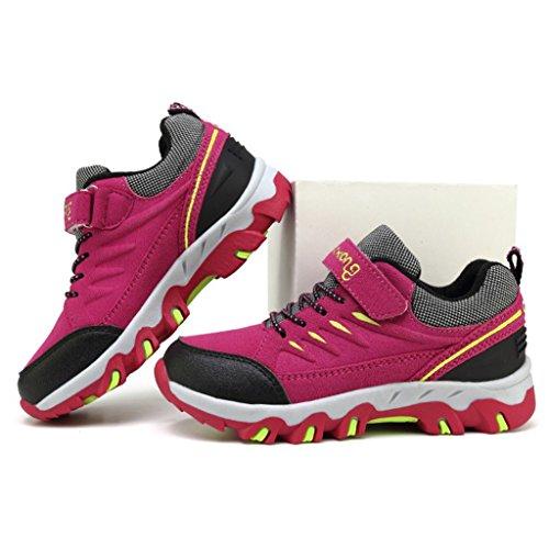 Eagsouni® Zapatillas de Senderismo y Trekking para Niño Escalada Deporte No Resbaladizo Caminar Transpirable Sneakers Rojo