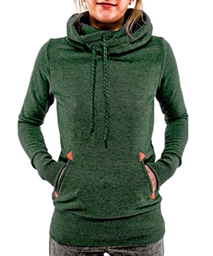 Begonia.K Women's Funnel Neck Hoodie Lightweight Pullover Hooded Sweatshirts, Green, US XL=Tag 2XL ()