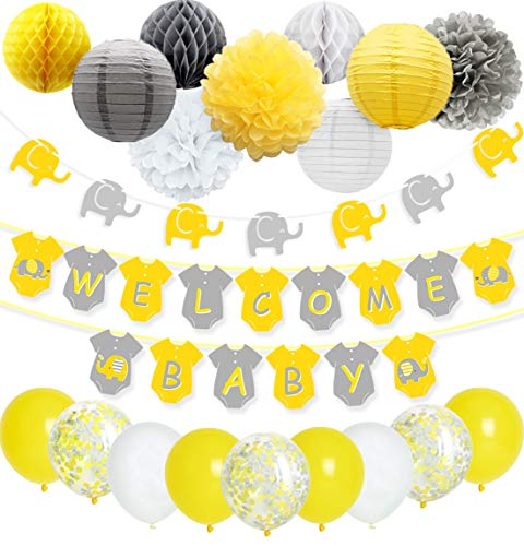 JOYMEMO Yellow Grey Elephant Baby Shower Decorations Neutral for Boy or Girl, Welcome Baby Banner Elephant Garland Confetti Balloons for Gender Neutral Baby Decor (Decor Yellow Baby)