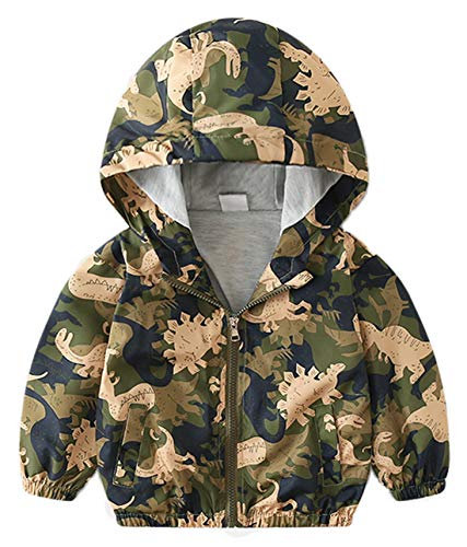 Toddler Camouflage - lymanchi Toddler Baby Boy Camouflage Dinosaur Hooded Zip Casual Windproof Jacket 769 5T