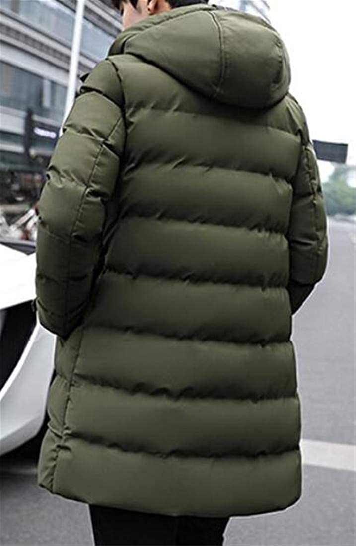 Wopop Mens Stylish Puffer Zip-Front Thick Hooded Parka Jackets Coat