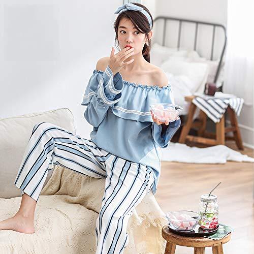 Pigiameria Donna Pigiama Notte Donne Sexy Primavera Pigiami Comodo Autunno Da s Camicie Cotone Principessa Strisce 5XwXqFg