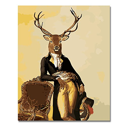 - BOSHUN Paint by Numbers Kits with Brushes and Acrylic Pigment DIY Canvas Painting for Adults Beginner- Deer Gentleman 16 x 20 inch(Without Frame)