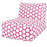 Majestic Home Goods Hot Pink Large Polka Dot Bean Bag Chair Lounger For Sale