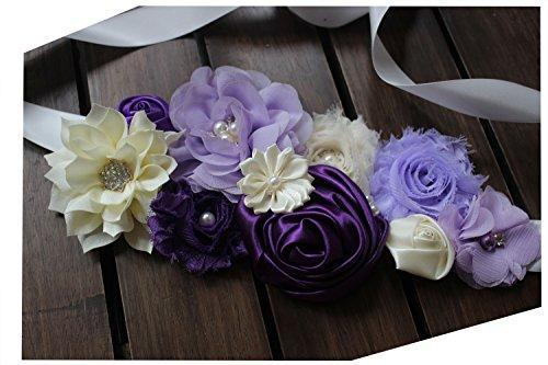 Maternity pregnancy sash for Mon to be baby shower sash flower sash (Purple)