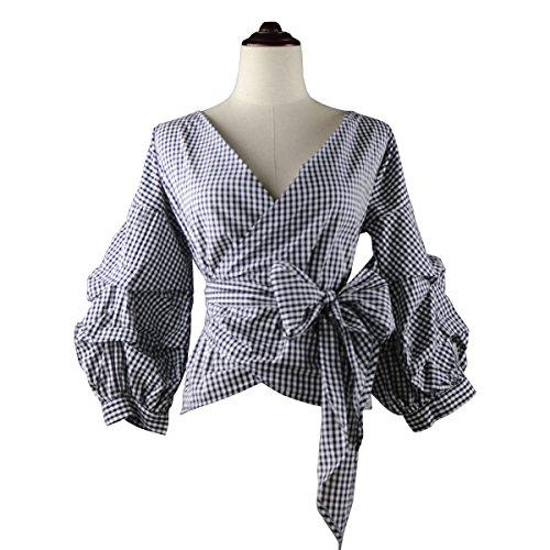 Plaid Ruffled Blouse (AOMEI Women Vintage Plaid Blouse Tops For Women Size XXL)