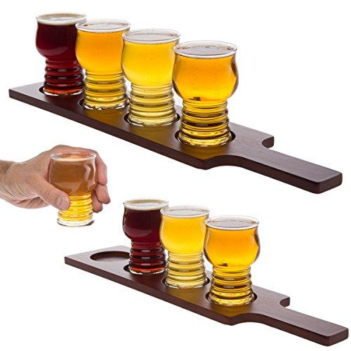 Libbey (2 Sets) 5pc Craft Beer Flight Glasses Sampler 5oz Tasting with Paddle Boards, Cider (Bulk Beer Glasses)