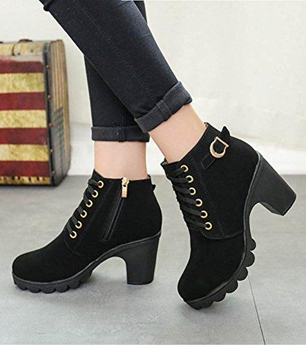 Maybest Ladies Casual Chunky Heel Lace Up Botines High Heel Side Zipper Mujeres Martin Botas Zapatos De Suela Gruesa Negro