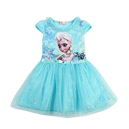 [MIQI Girls Elsa Princess Dress Kids Cartoon Cosplay Sequins Lace Costumes Dresses (2-3 Years, Blue)] (Make An Elsa Dress)