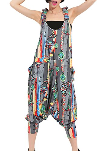ellazhu Women Juniors Sleeveless Backless Harem Rompers Jumpers Jumpsuits GY615 Grey