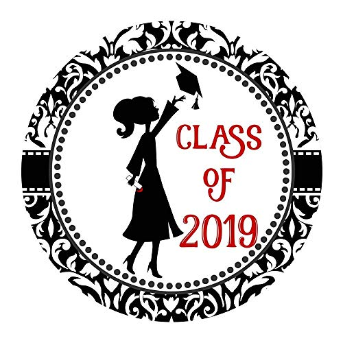 (Class of 2019 Graduation Sticker Labels - Girl Graduate Envelope Seal Card Party Favors - Set of)