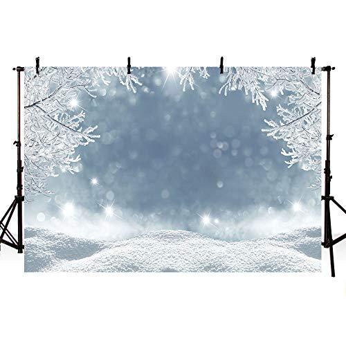 MEHOFOTO Winter Wonderland Landscape Backdrop Snow Scene Ice Pine Tree Bokeh Photography Background Decoration Photo Studio Props 7x5ft]()