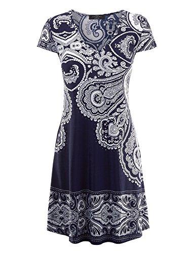 Made By Johnny WDR1219 Womens Print V Neck Cap Sleeve Mini Dress S (Navy White Polka Dot Dress)