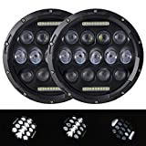 Uni-balance Pair 7 Inch Black Round Hi/lo Beam Led Headlight DRL for Jeep Wrangler Jk Tj Harley Davidson with H4 Plug H4-h13 Adapter